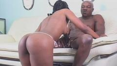 Look at this nasty ebony tart swallows one thick cock. ...