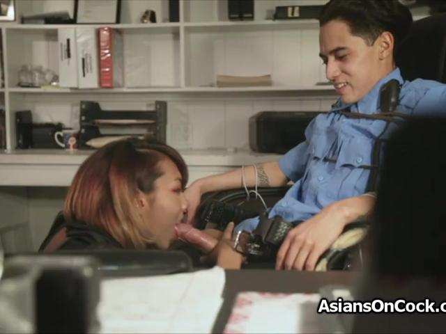 Naughty Asian ninja thief wants guards cock
