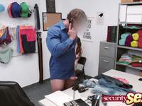 Brunette girl enjoys fucking the security guard instead of going to jail and she liked it