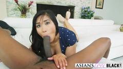 Busty Asian babe Mia Li getting her cunt slammed by a BBC