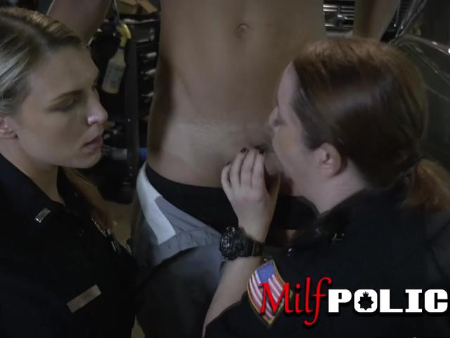 Nice titted cops enjoy and ride a black massive pecker