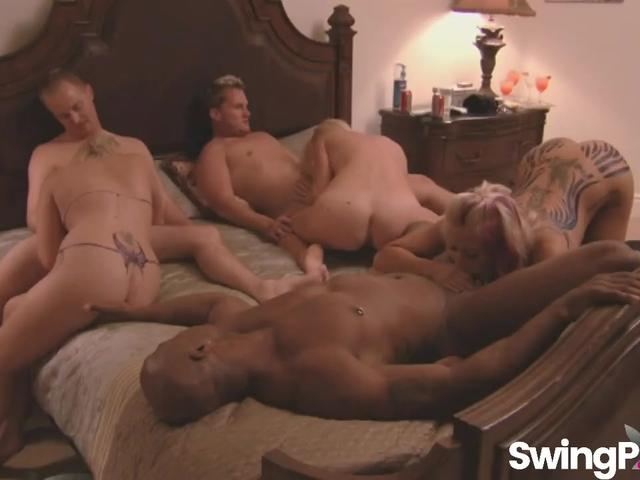 Sexy couples having orgy in swinger reality show