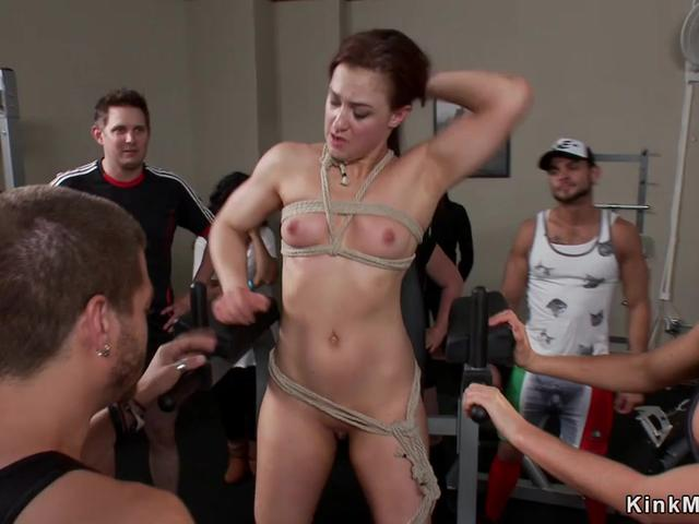 Bound slave is dp fucked in public gym