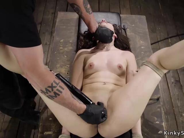 Petite Latina slave in hogtie