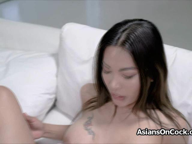 Tit and pussy fucking busty Asian bombshell