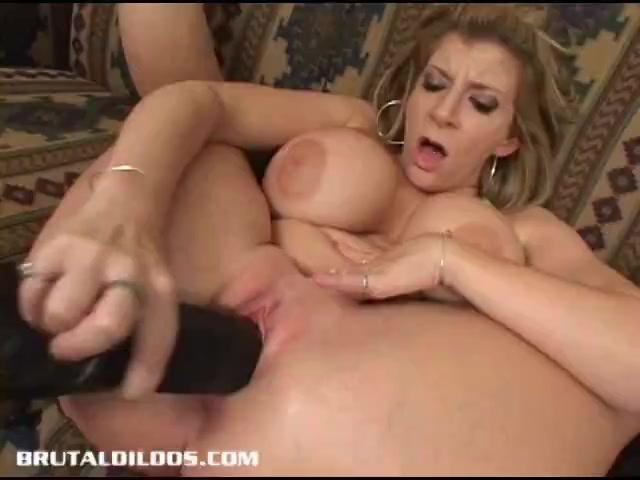 Titty Blonde Cutie Sara Jay Pleasures  Shaved  Pussyhole With Dildo
