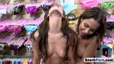 Superb BIG titied babes sharing one massive cock!