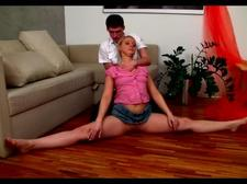 Flexible blonde slut fucked