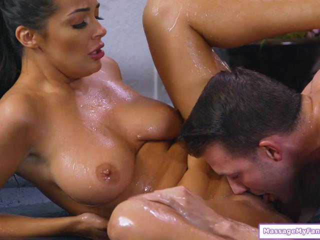 Big tits maid gives a guy a nuru massage