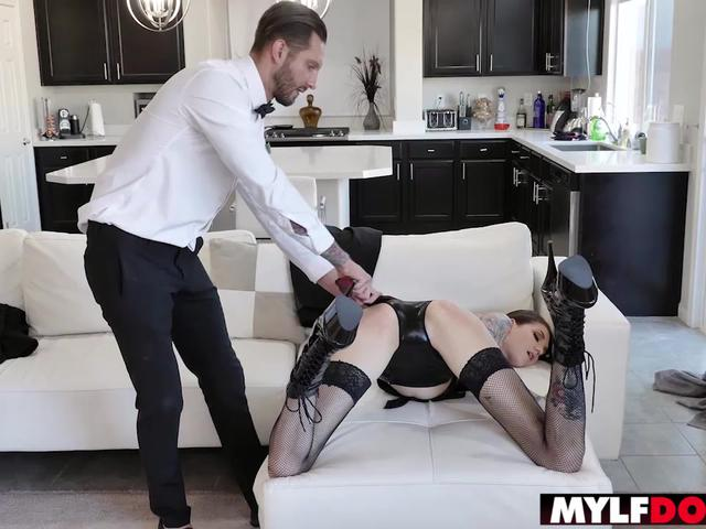 Big boobed inked MILF spanked and fucked by a stranger
