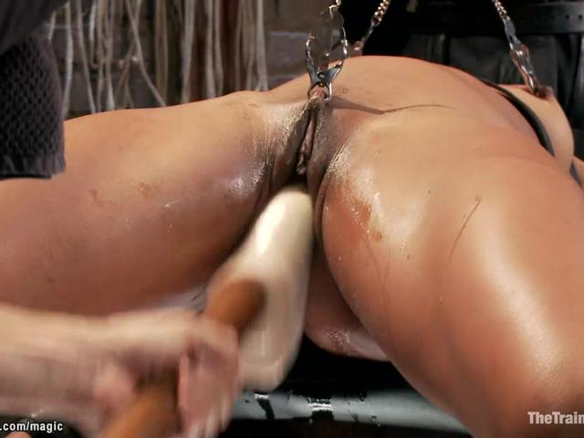 Ginger ebony trainee all holes banged