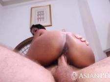 Asian cutie riding big fat cock