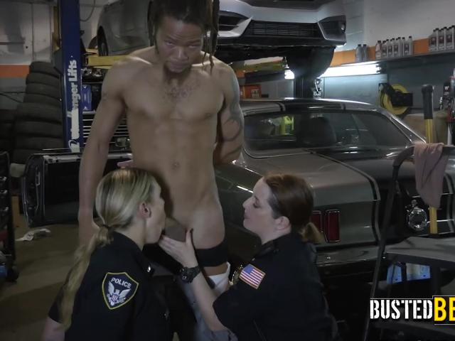 Perverted milf cops get drilled hard by chop shop owners cock