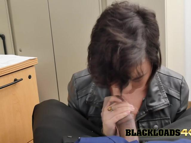Cute petite gets amazed with the big black cock she grabs.