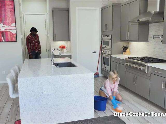 Teen cleaner pounded by owners big black cock