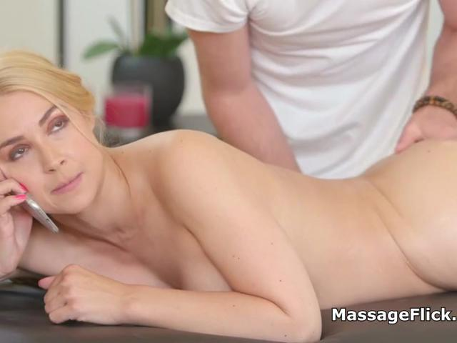 Blonde wife deepthroats masseurs throbbing cock
