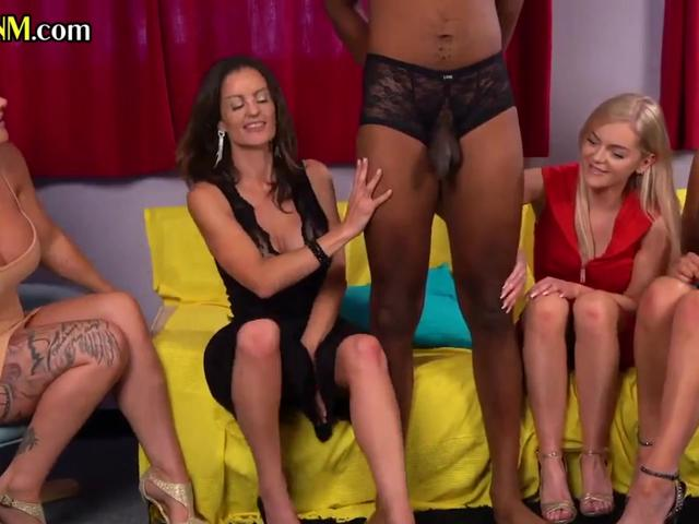 Brit cfnm dommes suck in this kinky interracial group