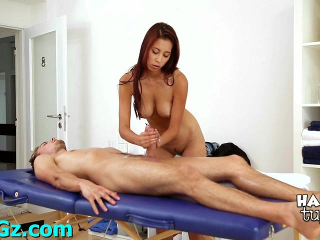 Dirty-minded girl fucks a hot guy after massaging his body