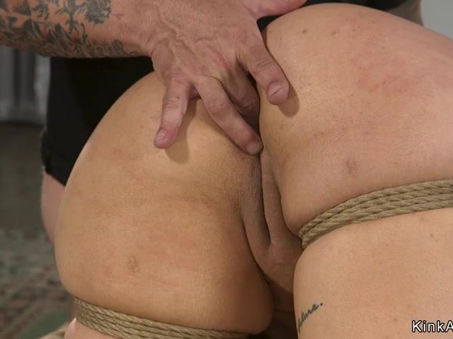 Busty tied Latina ass and pussy whipped