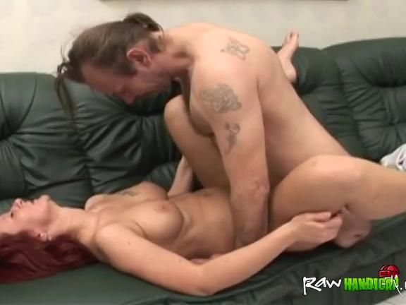 Busty redhead slut riding amputee cock on couch