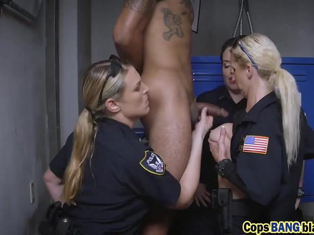 Police MILF trio is sucking a loaded convict dick