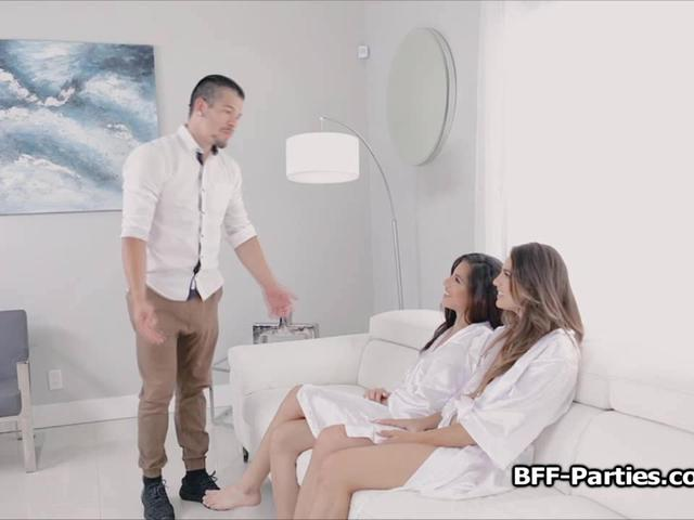 BFFs spa day turns to foursome blowjob party