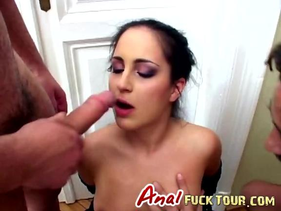 Natural and small titted brunette double penetrated