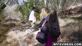 Horny teens fuck their tour guide during camping trip