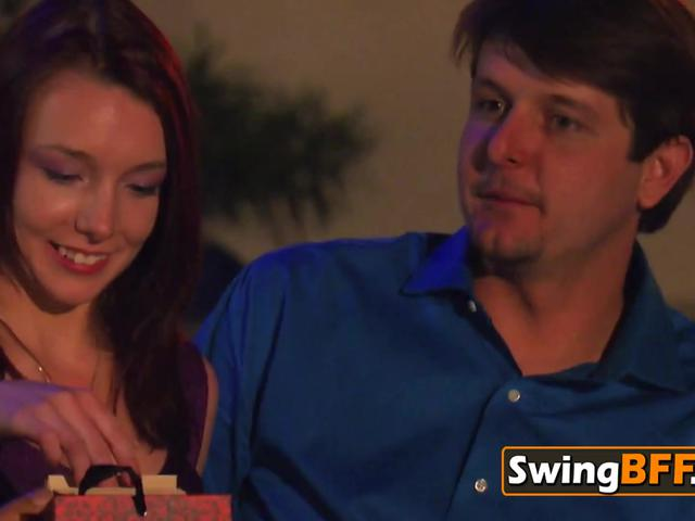 NERDY dude with large DICK taking BISEXUAL wife to SWINGER ORGY