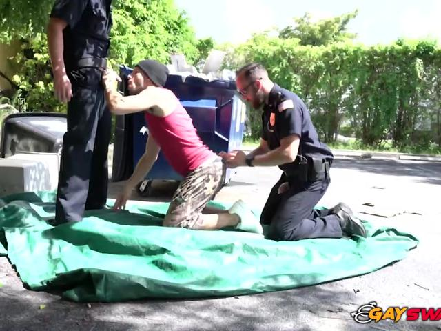 KINKY rough cop RIMMING black ass OUTDOORS for HARDCORE sex