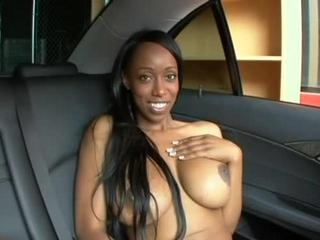 Big-Titted Ebony Slut Pounds Cock In The Car