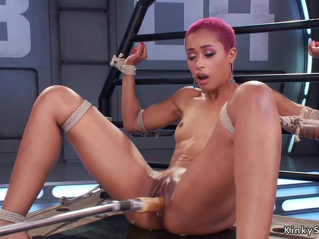 Small tits ebony fucks machine bdsm