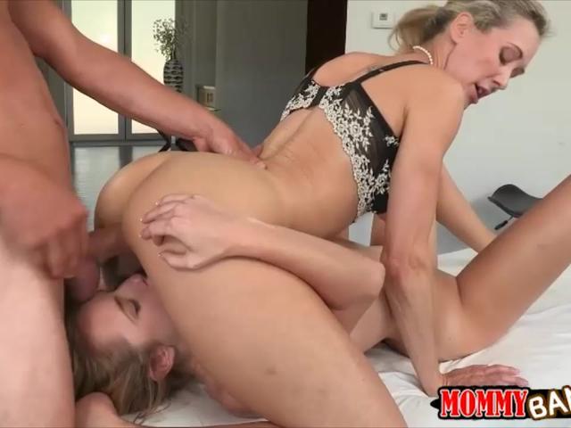 Busty milf Brandi Love nasty threesome sex on massage table