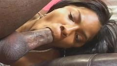 Jerk off to this horny black tart blows this yummy ...