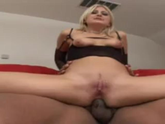 Naughty  Blonde Chick  Spreads For Huge Choc Staffs