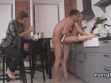 Bankrupt fella allows flirty pal to nail his girlfriend for dollars