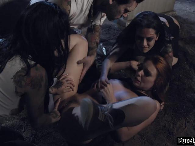 Redhead fucked by her 3 undead friends