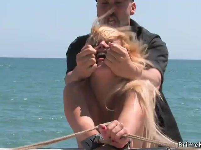 Blonde is public disgraced in underwear