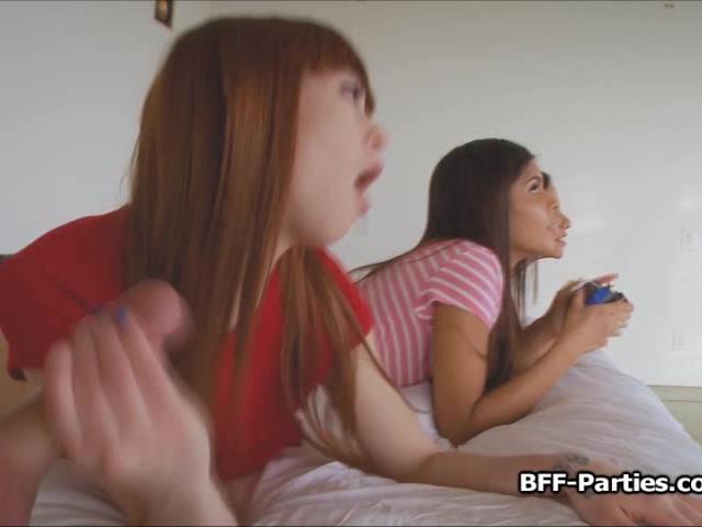 POV foursome with 3 gamer girls