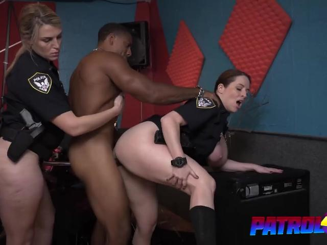 Two curvy sluts in police uniforms share black guy who fuck them hard in threesome