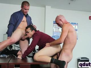 Horny gay stud gets double teamed in office