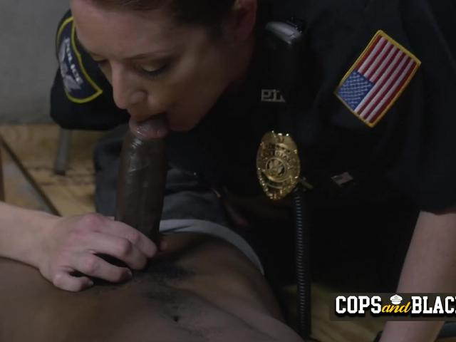 Milf cops take turns to get stuffed by naughty criminal at their spot