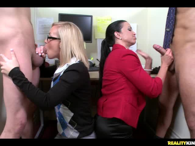 Clothed Babes Fuck With Naked Strippers At Office