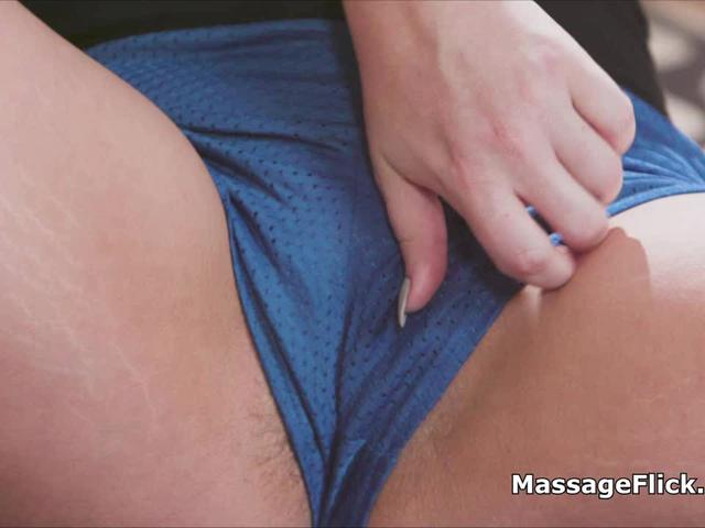 Inappropriate massage with brunette roomie