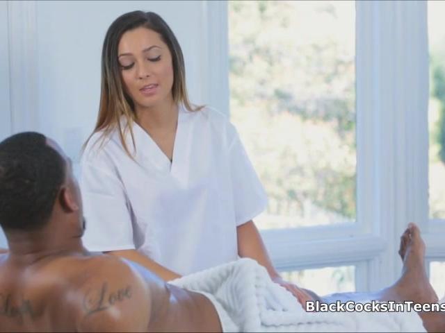 Latina masseuse rides big black cock
