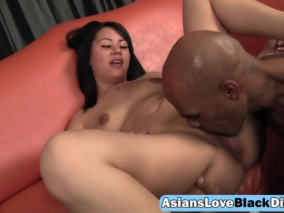 Cute Asian housewife flaunting small perky tits for BBC husband