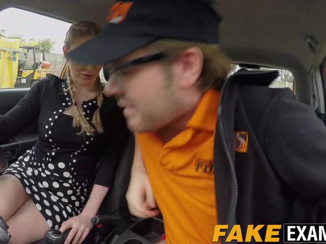Big booty bitch Georgie Lyall rides Ryan Ryder in the car