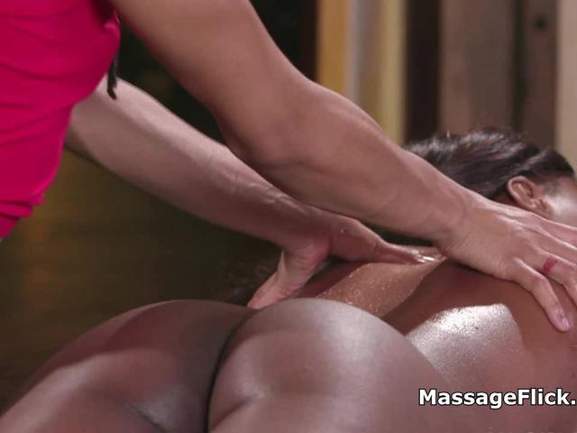Oily black ass and pussy eating massage