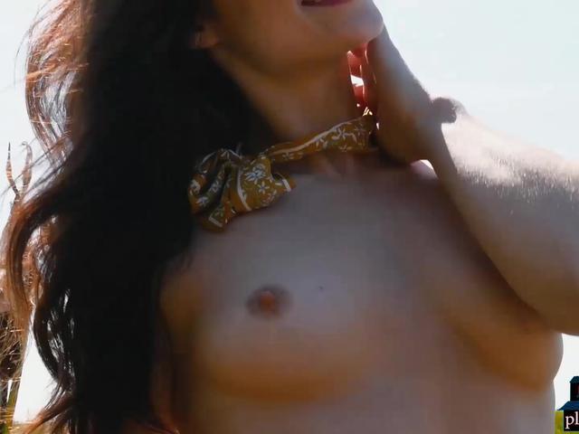 Model babe Alexandra Belle strips naked outdoor for us