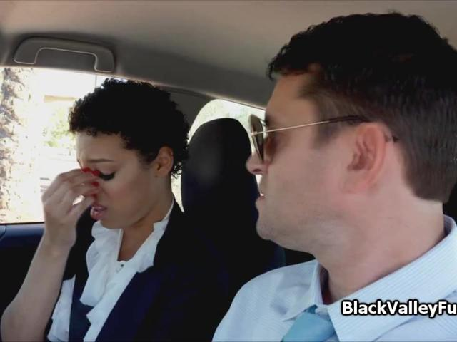 Driving instructor deep inside black coeds pussy